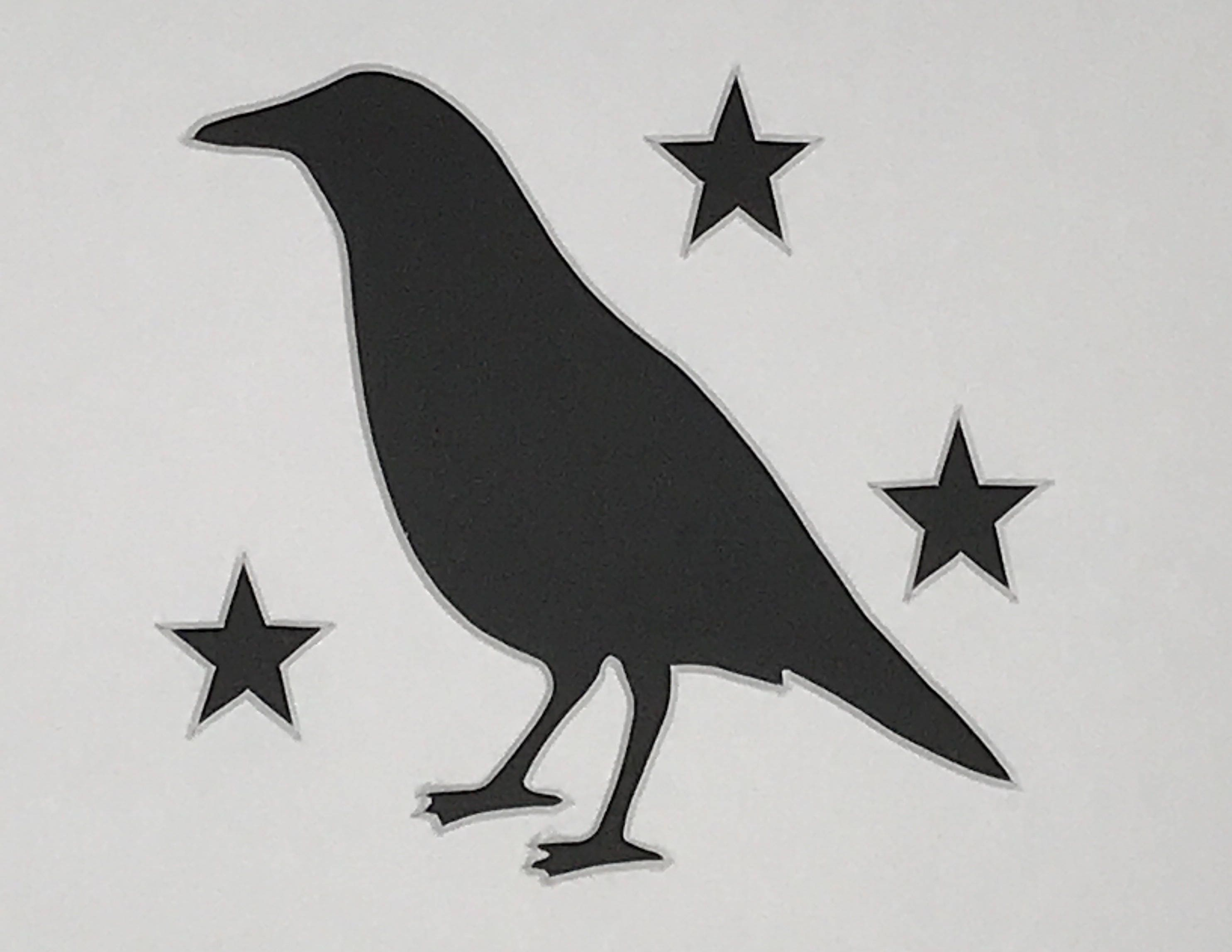 Primitive Crow With Stars Stencil Made From 4 Ply Mat Board
