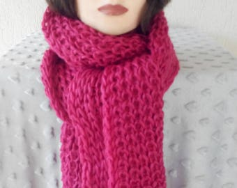 Big wool scarf knitted very long pink