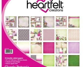 Heartfelt Creations Classic Petunia Collection Paper Pad - Petunia Paper - 12x12 - Pink And Green Paper - Flower Scrapbook Paper - 9-139