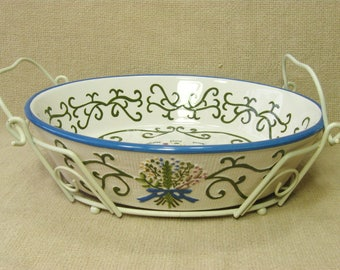 Temp-Tations Ovenware Oval Casserole Dish with Wire Rack, Potluck, Baking Dish, 10 x 7.5 Vintage