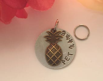 Pet ID Tag with Pineapple.