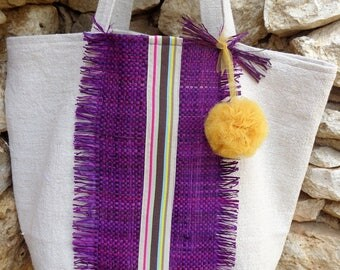 Style Bohemian hemp canvas tote unbleached rabane Pompom in tulle and purple