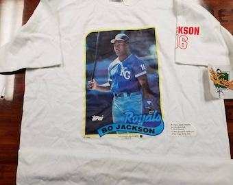 Medium Kansas city royals shirt, bo Jackson shirt,NWT, NOS, topps baseball cards, 80s, 90s