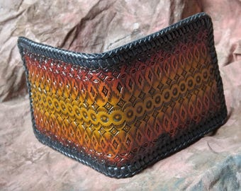 Leather Billfold Wallet --  Hand Tooled Billfold  -- Made in the USA