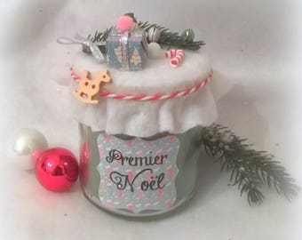 """""""First Christmas"""" green scented Christmas tree candle. Customizable"""