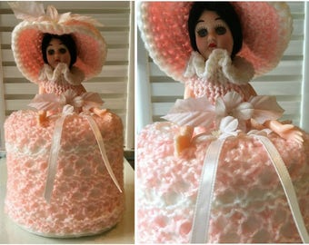 Vintage 1970s Pink Southern Belle Doll Toilet Paper Cover
