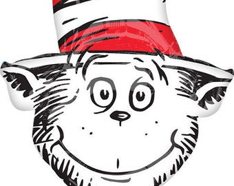 "CAT in the HAT 42"" Mylar BALLOON Dr. Seuss Birthday Party Supplies Centerpiece Photo Prop Backdrop"