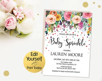Baby Sprinkle Invitation Template, Baby Sprinkle Invitation, Boho Baby Sprinkle, Editable Baby Sprinkle Invitation, Baby Sprinkle Invite