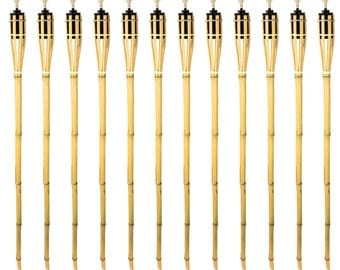 Bamboo Tiki Torches - 12 Pack - Metal Oil Canister - Reinforced With Metal Ring - 4 ft High, 6oz. Capacity - Sharp Speared Bottom
