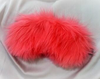 Pink furry Sleep mask / Eye mask / Gift for her or him / Travel gift / Sleeping mask / Womens sleep mask / Mens sleep mask /Travellers gift