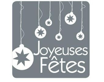 Set of 10 - labels happy holidays stickers square 3.5 x 3.5 cm grey and white