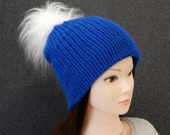 Knit pom pom beanie hat women, knit hat winter beanie, blue beanie, faux fur pom pom beanie, womens beanie, knit wool hat, blue hat, sizeS-L