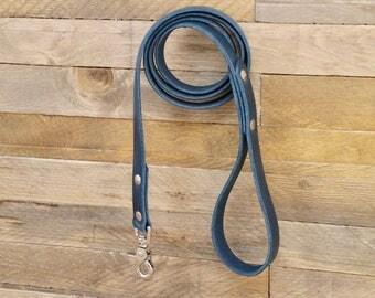 Dog leash, Leather dog leash, Pet gift, Strong leash, Distressed leather leash, Pet leash, Leash for walks, Deep ocean colour leash.
