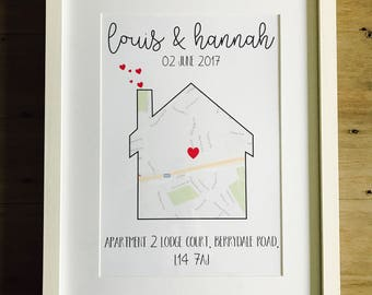 Personalised New Home framed A4 moving gift