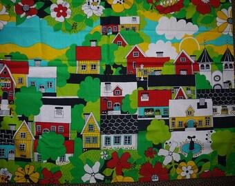 Fabric - Almedahls - Ulla Bodin - Childrens Fabric - House - Town - Wall Hanging - Sweden - Retro - 70s - Scandinavian Design