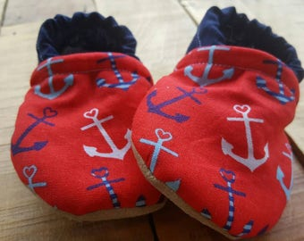Red, blue, white, anchors , nautical,  Moccasins, baby crib shoes, soft sole