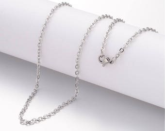 """1 (304) Stainless Steel Cross Chain Necklace 23.6"""" long  (B468i)"""