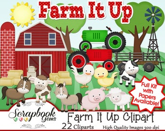 FARM IT UP! Clipart, 22 png Clipart files, Instant Download ranch pig cow horse sheep chicken hen tractor windmill farmland hay bale farming