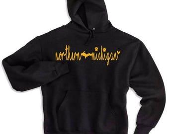 nmu hoodie, northern michigan hoodie, michigan hoodie, upper michigan hoodie, UP hoodie, NMU apparel, NMU sweatshirt, michigan sweatshirt