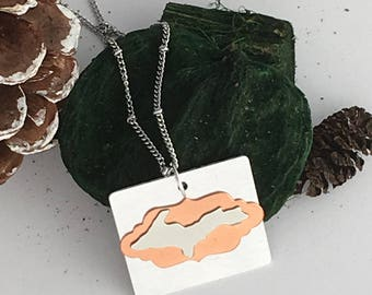 Upper Michigan pendant, michigan jewelry, Upper Michigan copper jewelry, state jewelry, copper necklace, UP necklace, state necklace