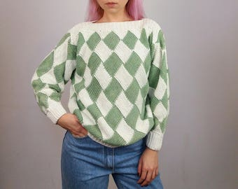Vintage 80's Harlequin Cotton Knit Jumper | Patterned Jumper| 80's Knit Sweater | 80's Pullover | Handmade Jumper | Cotton Jumper | size S-M