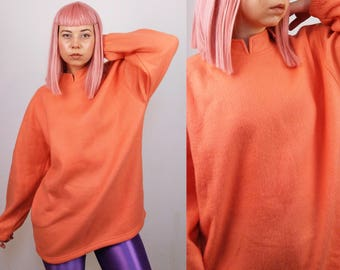 Vintage Soft Fleece Thermal Sweatshirt in Coral Pink/Orange / Activewear Winter Pullover / Size S-M