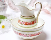"Roses creamer + sugar bowl: English bone china creamer and bowl, by ""cresent & Sons"" perfect to display or use."