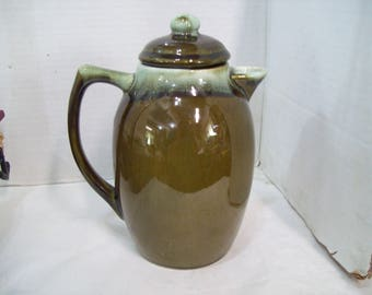 Olive Green Drip Gourmet Pottery Stoneware Pitcher #303  T102 Free Shipping