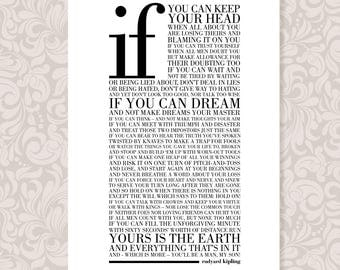 If by Rudyard Kipling (A4) print digital download in 5 colours