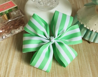 mint green striped hair bow, kids pinwheel hair bow, childrens grosgrain bow, adult hair bow, hair bows for teens, large French clip