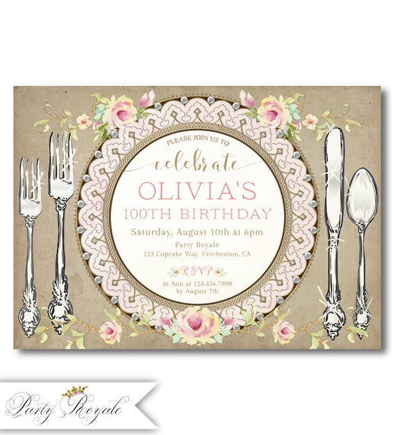 100th birthday invitation for women Printed or Printable