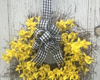 Angel Vine Wreath with Yellow Forsythia