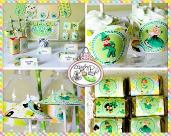 St. Paddy's Day FULL Party Printable-St. Patricks Day-Shamrock-Irish-Green-Shabby Chic Parties-DIY-Instant Download-Digital Decorations