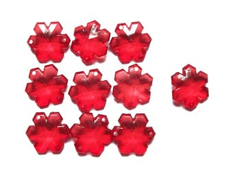 10 connectors 19 mm acrylic red snowflakes