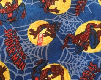 "Spiderman in circles  FLANNEL fabric, By the Half Yard, 42"" wide, cotton"