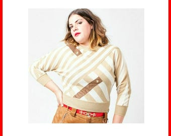 80's Light Brown Jumper with leather details