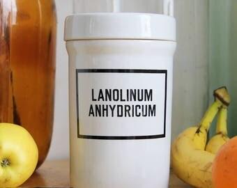 Ceramic Apothecary Jar Pharmacy Jar Antique Ceramic Jar Storage Jar Bathroom Jar Ceramic Jar with Lid Sugar Jar Cotton Swabs Jar