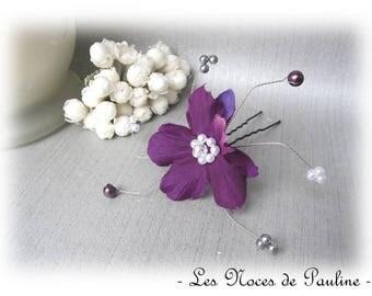 Purple, white and gray flower hair accessory wedding Eva PIC