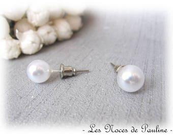 Earrings White Pearl Stud pierced earrings 10 mm beads