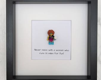 """Lego Running Lady Picture - half marathon quote """"Never mess with a woman who runs 13.1 miles for fun!"""""""