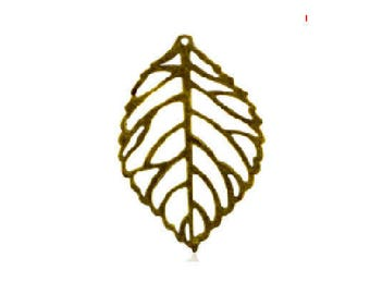 set of 4 large filigree leaves, prints, metal bronze 45 mm x 26 mm