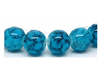 Blue turquoise marbled black 10 mm glass beads, set of 12