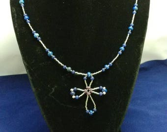 Everyday Casual Simple Cross  Lapis Lazuli Miyuki Delica Seed Beads Blue and Silver