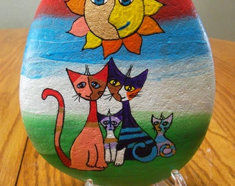 Painted River Rock Cats!