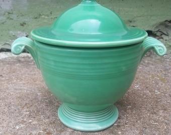 Green Fiesta Ware Sugar Bowl with Lid Sugar Dish