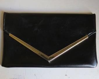 1970s black clutch/ 1970s envelope clutch/ vintage bag