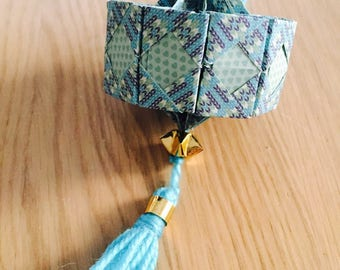 Lantern suspended for Chinese new year blue origami
