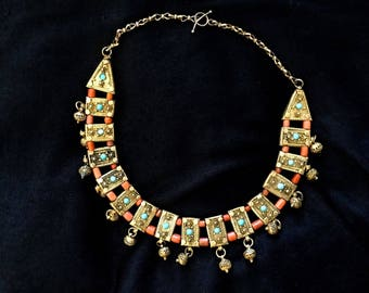 ANTIQUE HAND MADE Middle Eastern necklace, corals, turquoise.