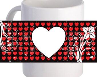 "Personalized ""Multiple Hearts"" Beautiful Coffee Mug With Custom Image"