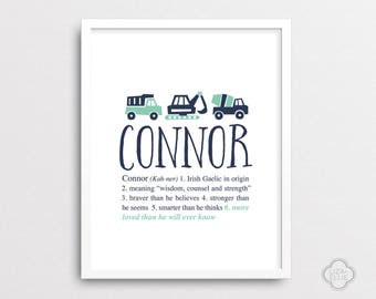 Connor - Trucks nursery art - Personalized baby gift  - Custom baby name print - Printable - Mint and navy boy nursery - PRINTABLE